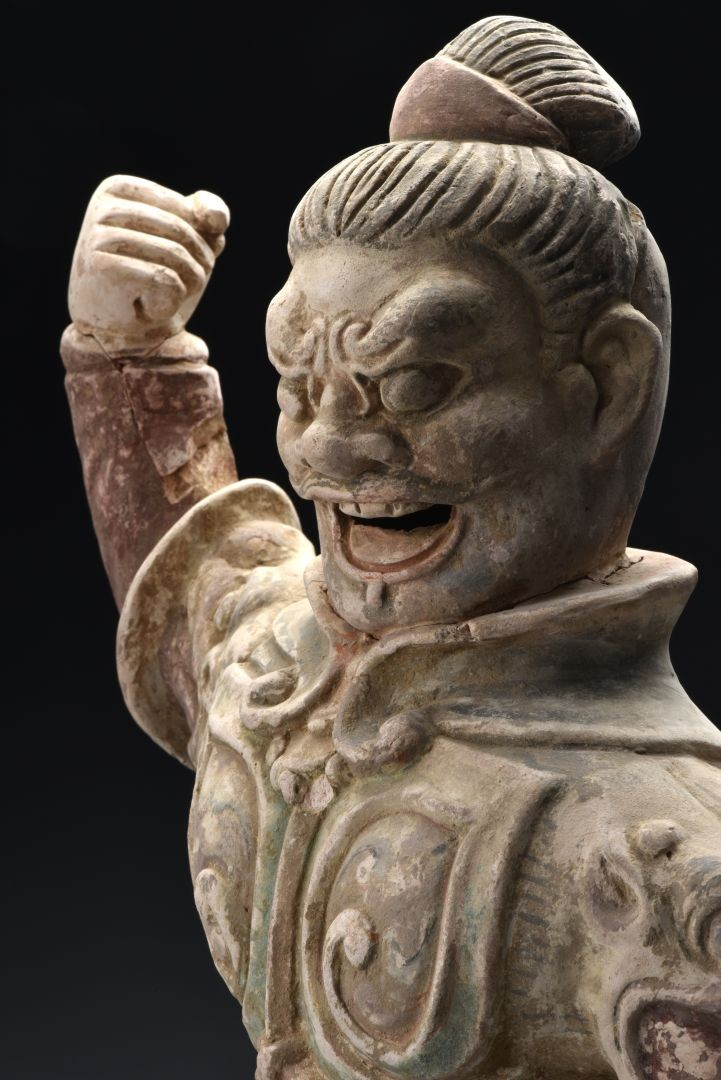 "Ceramic statue of the ""King of Sky"" (detail) - Tang Dynasty (618-907 AD)"