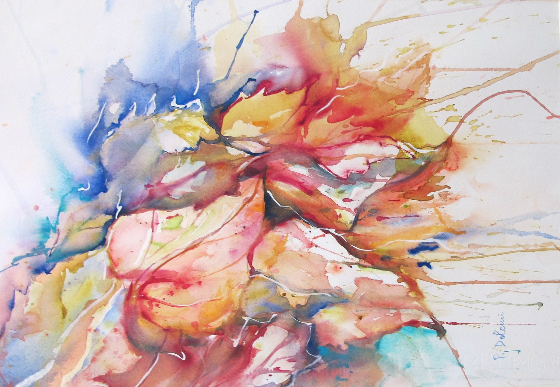 Foglie - acquerello di Patrizia Dolcini