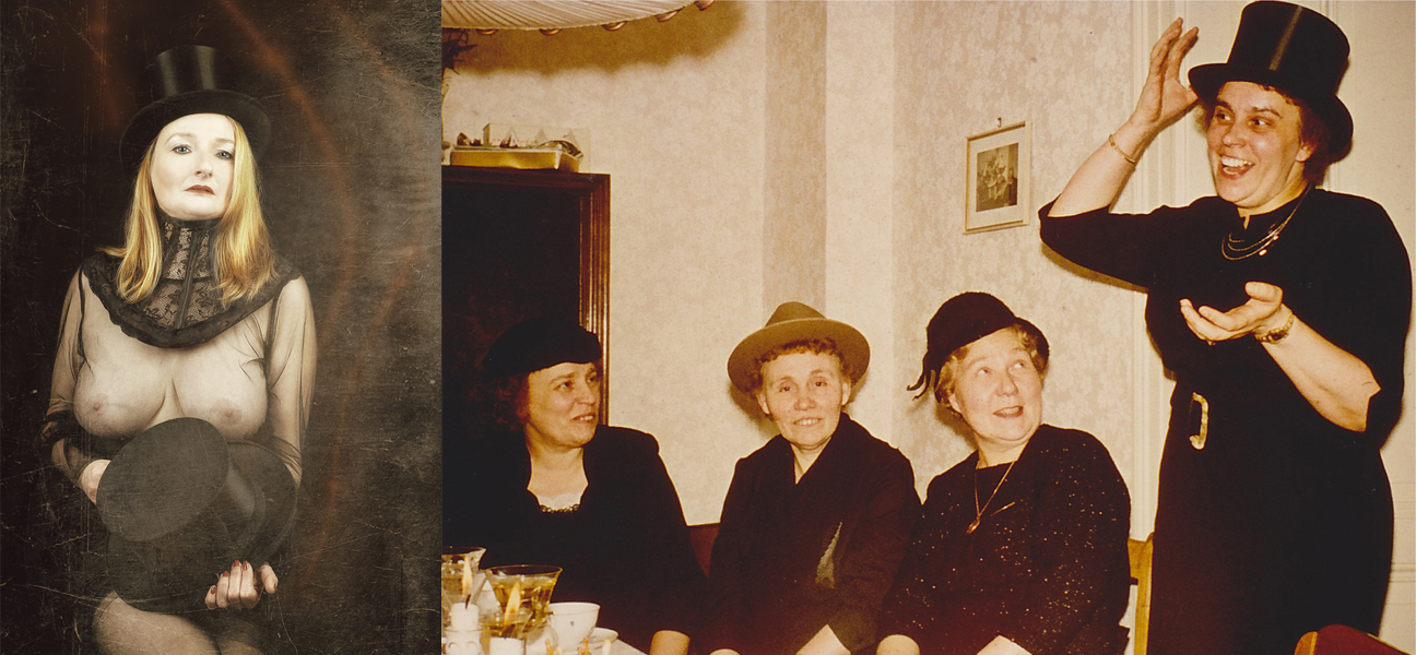 Zaubertricks - meine Mutter und Elvira wußten auf ihre Weise zu verzaubern. Der Zylinder meines Opas ist auf beiden Bildern zu sehen