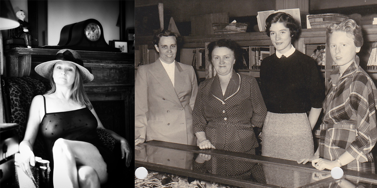 Kleidung, Chic und Mode - Thema für ein Menschenleben, links Elvira in Southold, Long Island, New York