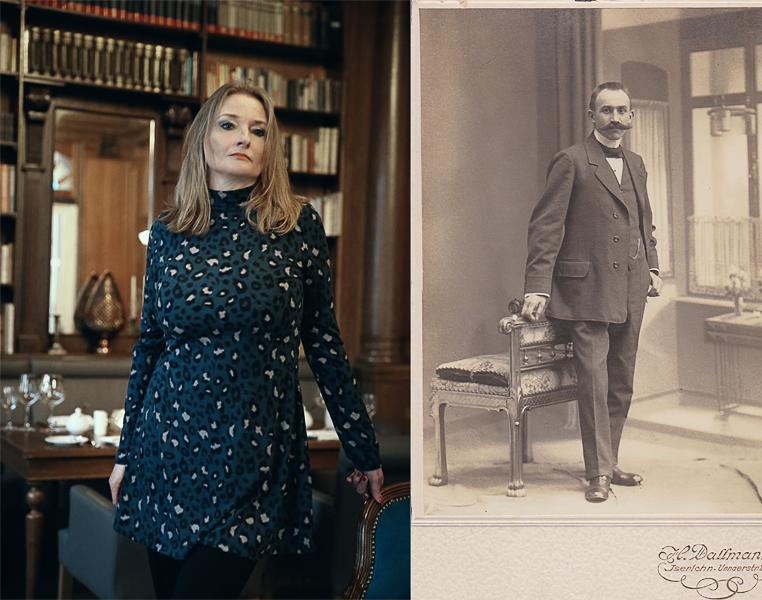 100 Jahre - liegen zwischen beiden Bildern; links Elvira auf Schloss Basthorst, MV, rechts mein Großvater etwa 1917
