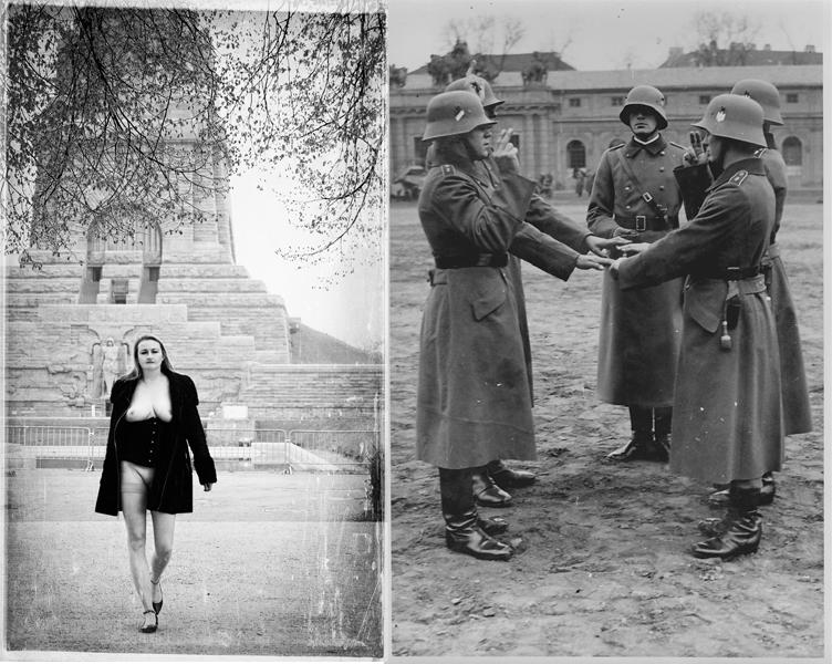 Make Love not War - Elvira vor dem Völkerschlachtdenkmal in Leipzig; Soldaten beim Fahneneid