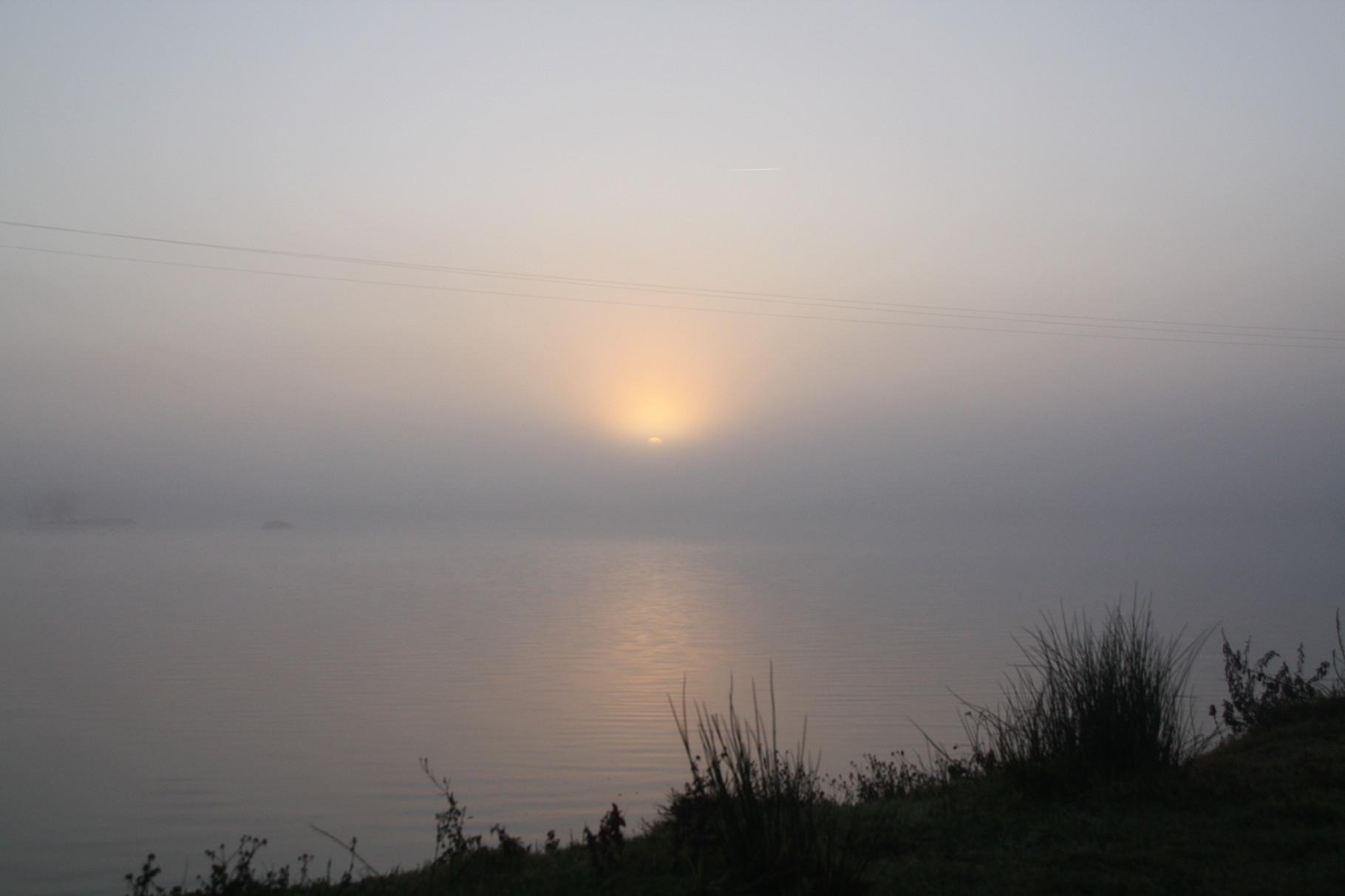Lever de soleil sur un étang dans la brume matinal