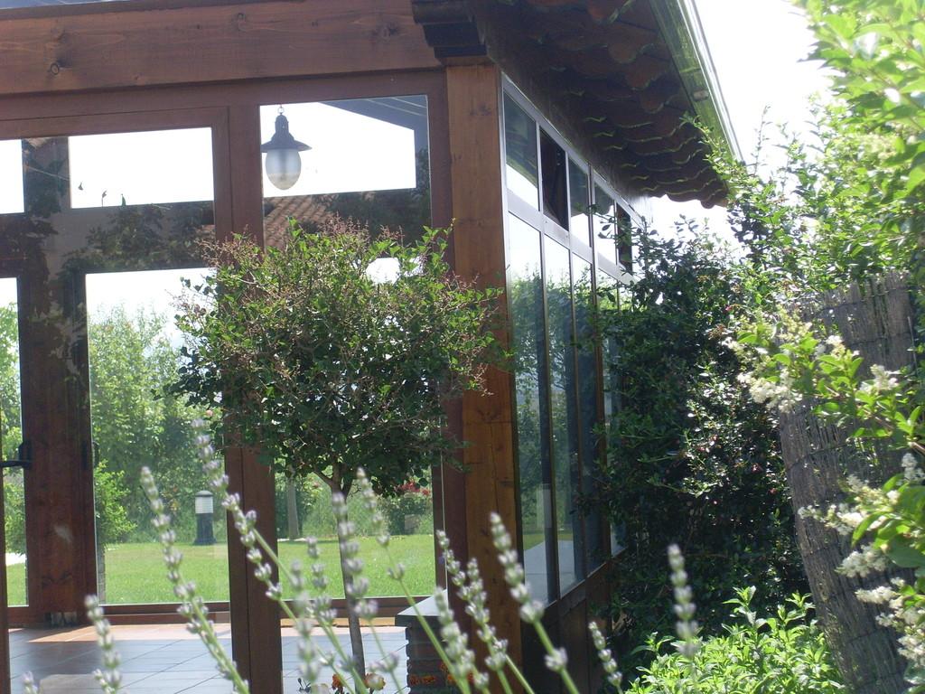 Porche de aluminio y madera