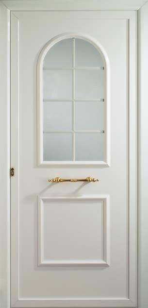 Puerta de entrada Támesis con vidrio capilla barrotillo blanco