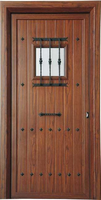 Puerta rústica con visor fijo y reja
