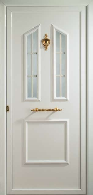 Puerta de entrada de aluminio con barrotillo decorativo blanco