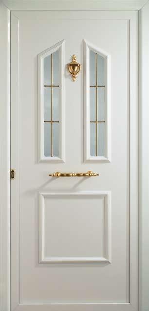 Puerta de aluminio Indo con barrotillo oro
