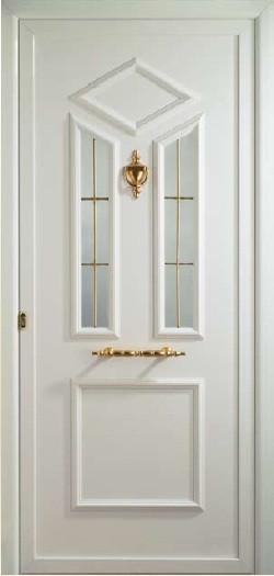 Puerta de entrada con vidrio y barrotillo oro