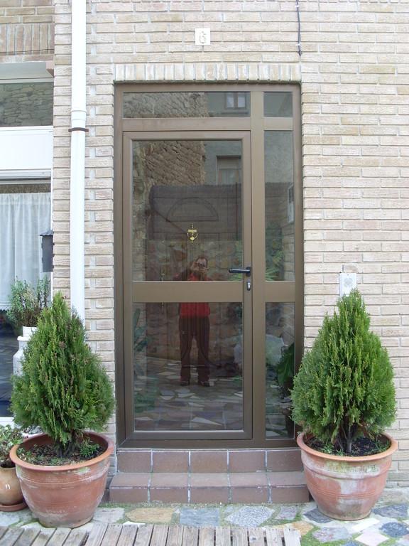 Puerta de entrada a portal en aluminio anodizado bronce