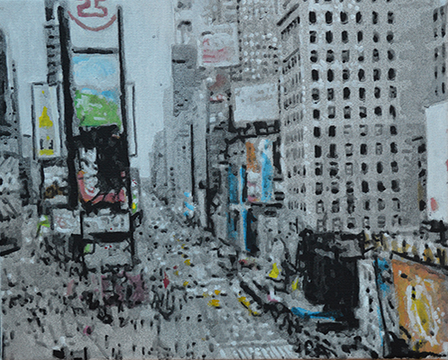 Times Square NYC II, 2019, acrylique sur toile, 24 cm x 30 cm (Collection privée).