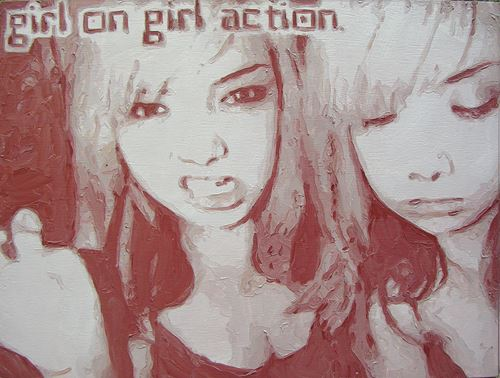 Girl on girl action, 2006, huile sur toile, 30 cm x 40 cm