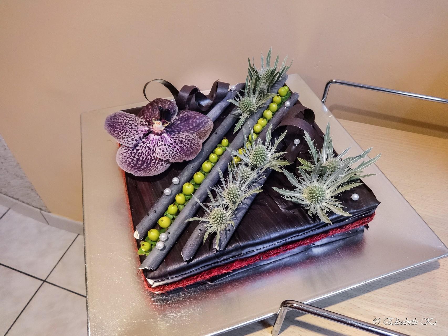 Gâteau floral au chocolat