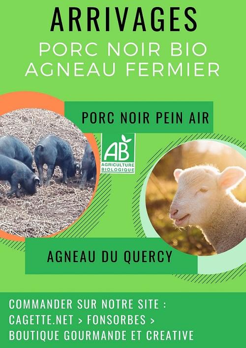 arrivage en boutique d'agneau fermier du Quercy et porc noir bio du Comminges