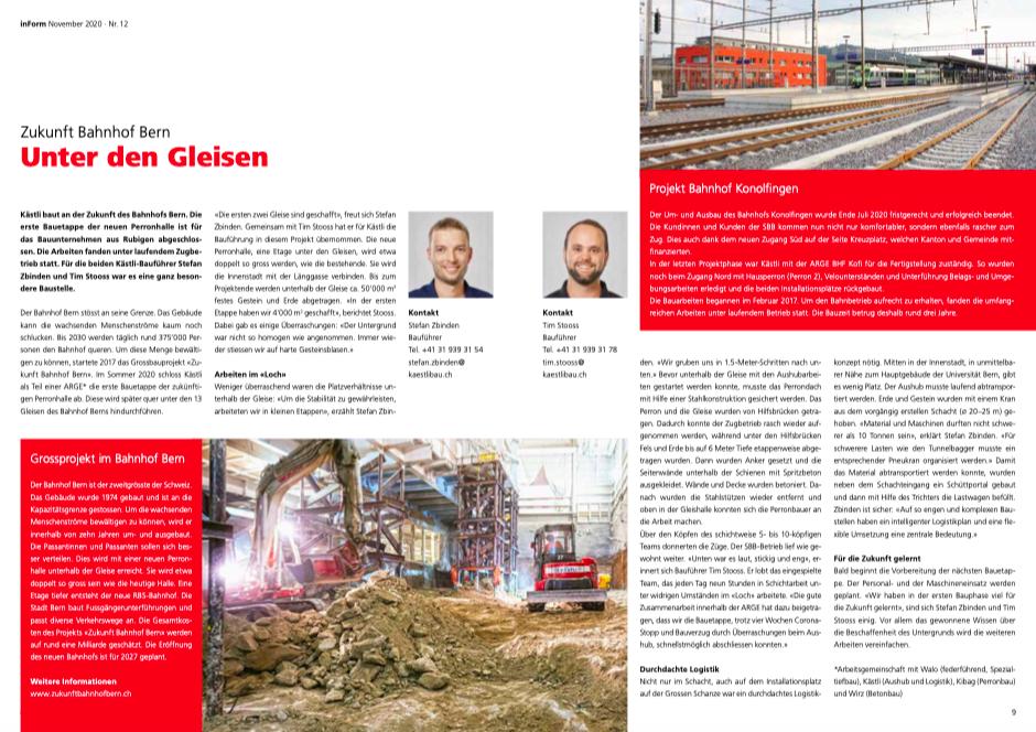 INFORM – Das Magazin für Kunden und Mitarbeitende der Kästli Gruppe, S. 8-9, November 2020