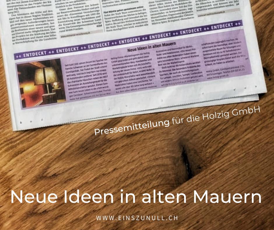 Pressemitteilung zur Gründung der Holzig GmbH