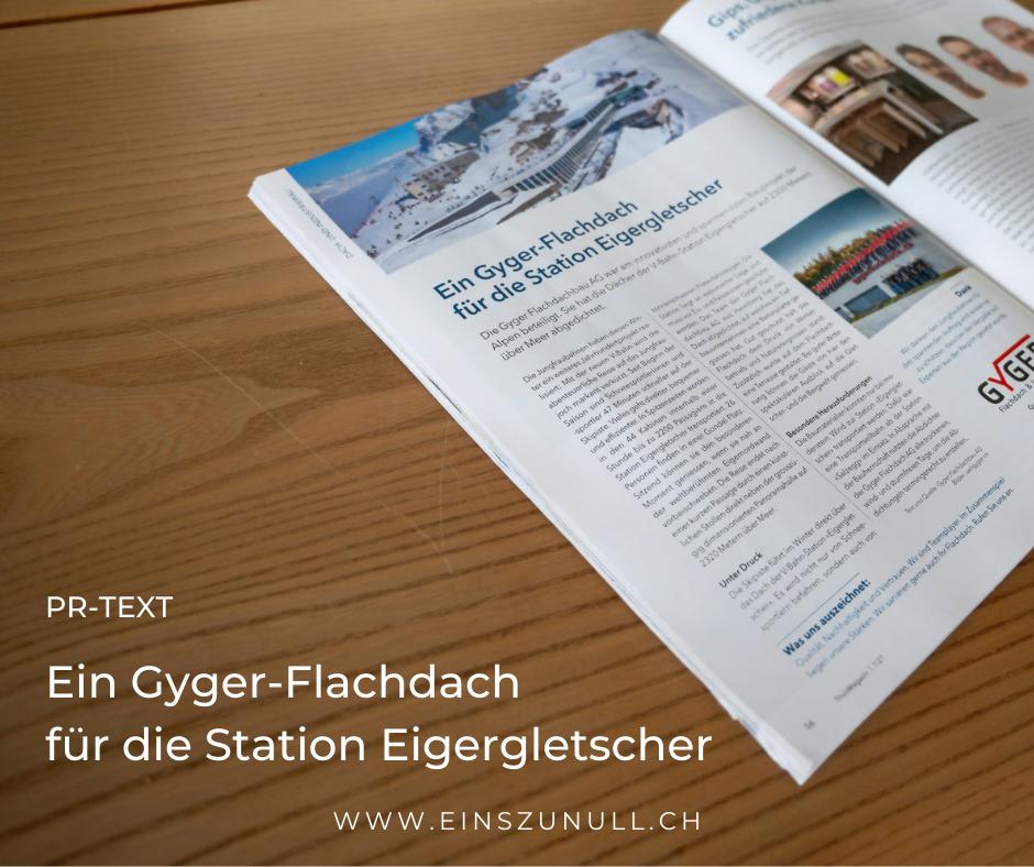 PR-Text für die Gyger Flachdachbau AG