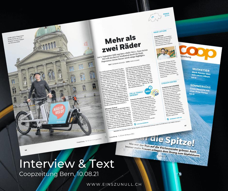 Mehr als zwei Räder: Interview und Text für die Coopzeitung