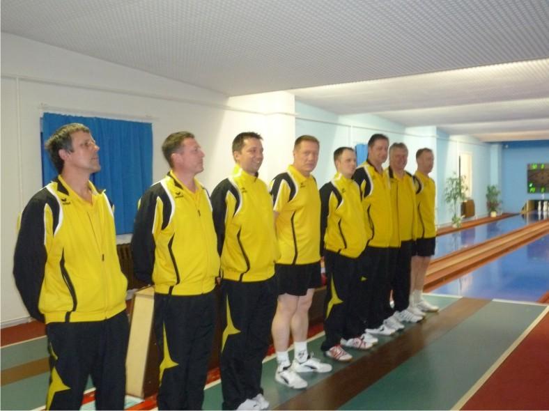 Begrüßung des neuen Sachsenmeisters 2014 auf der Kegelbahn in Dresden