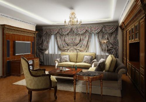 Домашний кинотеатр в городской квартире - встроенная в стены фронтальная акустика и два сабвуфера, компоненты в спроектированной тумбе под оборудование