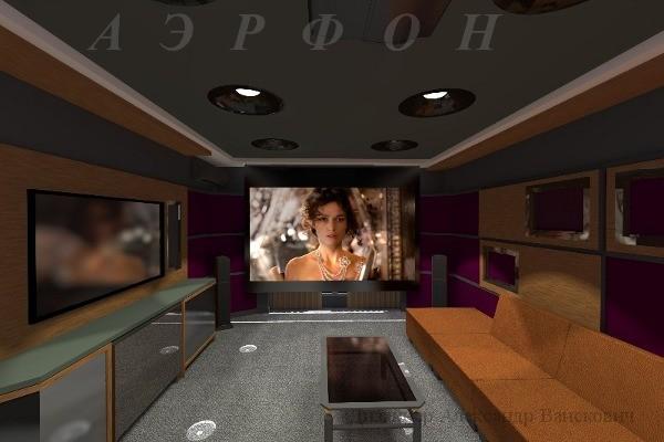 Кинотеатр в квартире с проектором и LED-телевизором