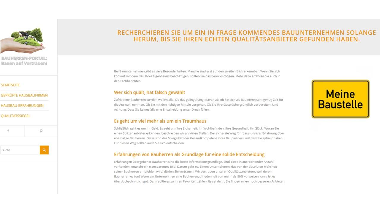 Credo im BAUHERREN-PORTAL: Bedürfnisse und Anforderungen von Bauinteressenten