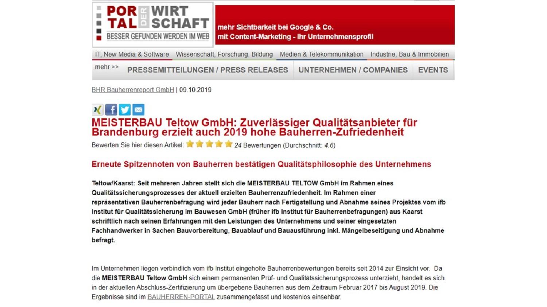 BAUHERRENreport GmbH: Empfehlungsmarketing mit Qualitäts-Content der Königsklasse