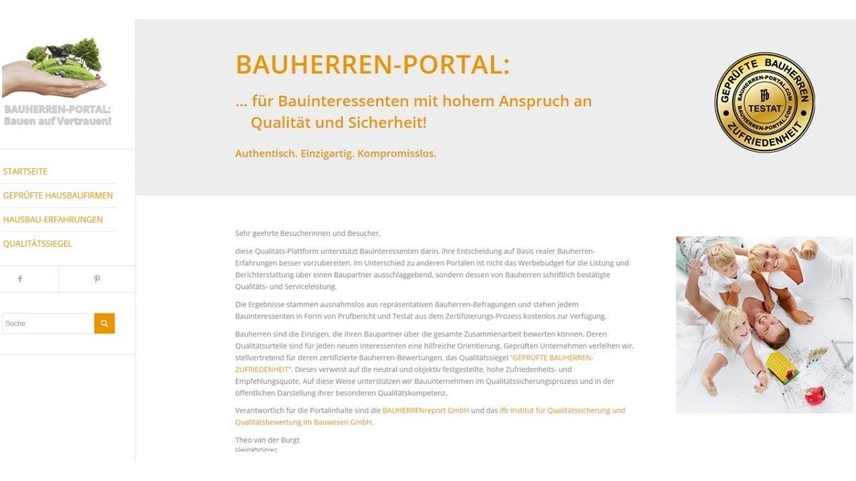 BAUHERREN-PORTAL: Zertifizierte Qualitätsberichterstattung über Bauunternehmen