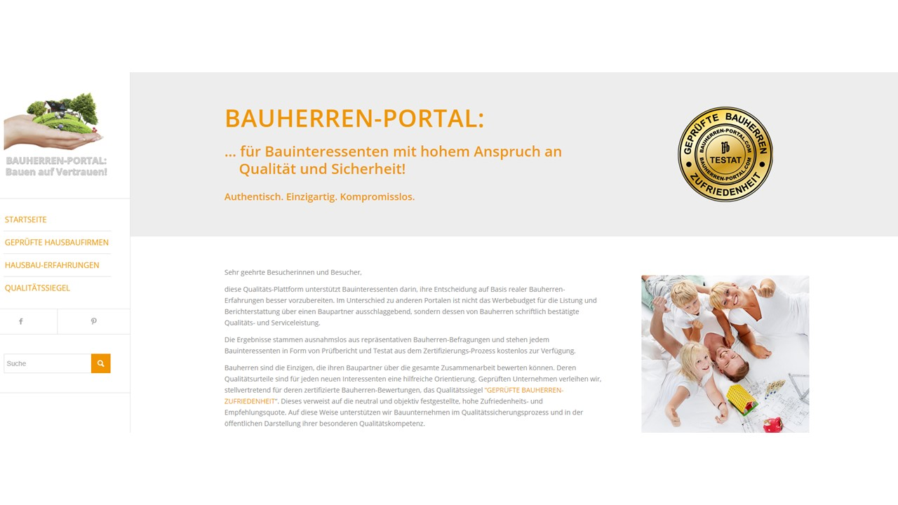 BAUHERREN-PORTAL: Hier werden Bauunternehmen zu Qualitätsführern ihrer Landkreise