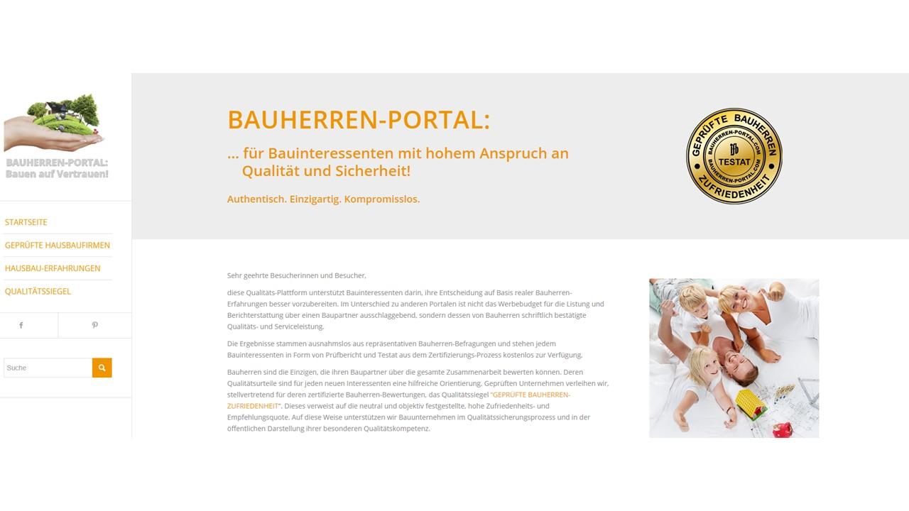 BAUHERREN-PORTAL bietet Bauinteressenten aussage- und prüffähige Qualitätsbelege