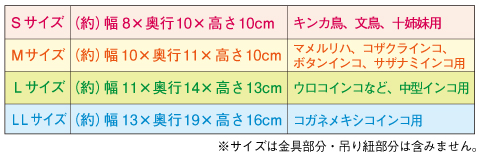 バードテント サイズ表