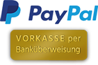 Zahlungsmöglichkeiten bei GOLDEN CAVIAR, Hamburg: Logo PAY PAL / Grafik: Vorkasse per Banküberweisung