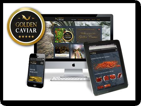 Grafik: Der Webshop von GOLDEN CAVIAR: Kaviar & Safran mobil und stationär kaufen
