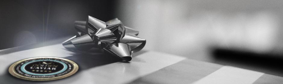 Grafik/Fotomontage: Geschenksets, Stimmungsfoto neben dem Logo von GOLDEN CAVIAR, Hamburg
