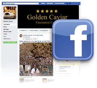 Grafik/Fotomontage: Webscreen der Facebookseite von GOLDEN CAVIAR, Hamburg plus Facebook Bildmarke