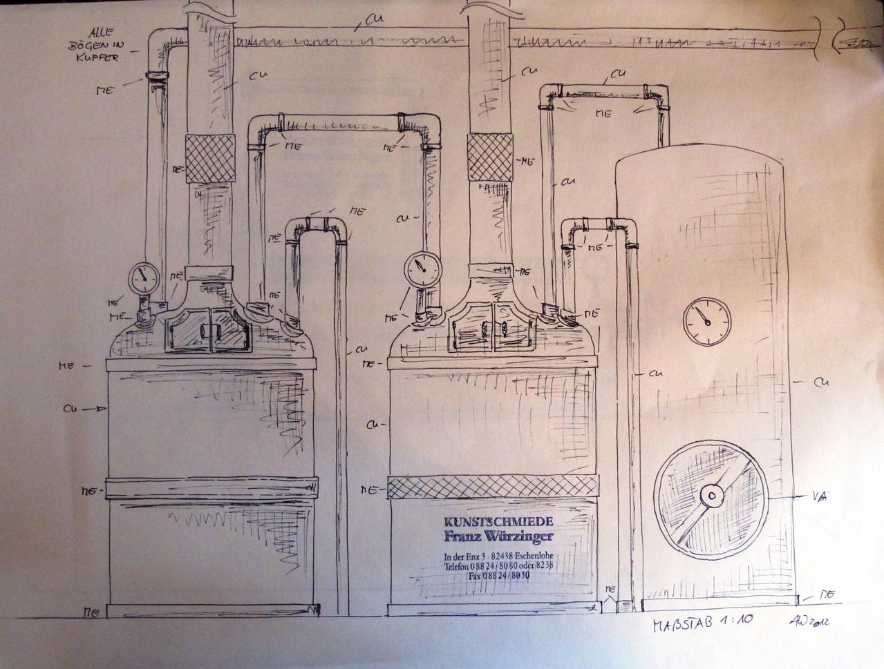 Handzeichnung M 1:10  Brauereianlage aus Kupfer