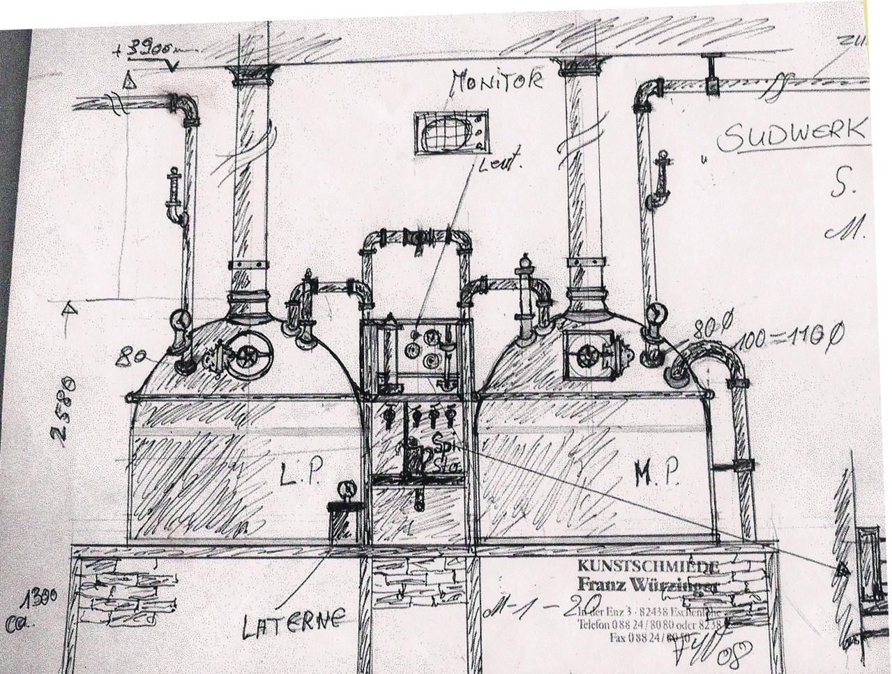 Handzeichnung M 1:10 - Brauerei - Anlage aus Kupfer  Messing