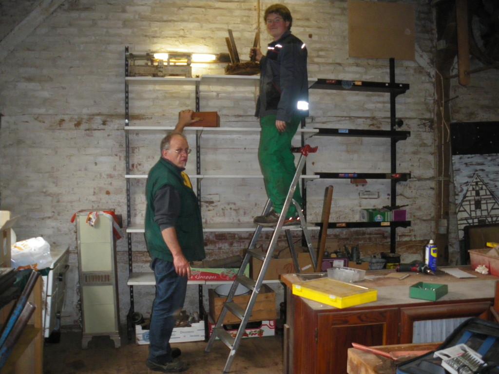 Arbeiten im ehemaligen Lager der Altstadtfreunde (Zimmerei Eichner)