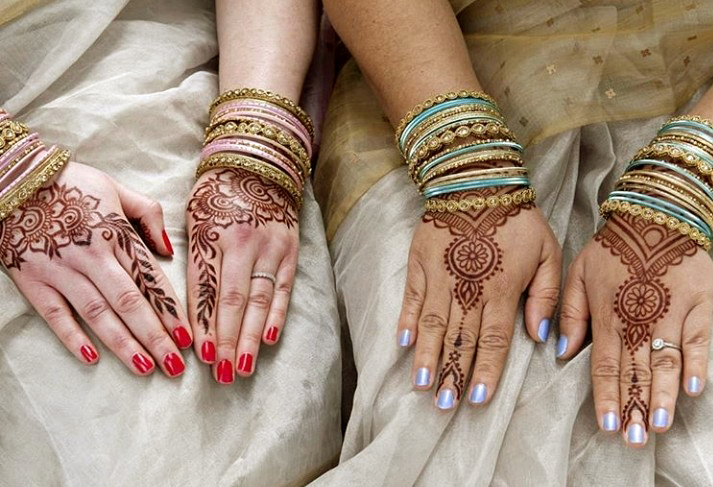 Bridal mehndi for LGBTQ British Indian wedding Devon Cornwall. Henna for lesbian brides by artist Red Hand Henna