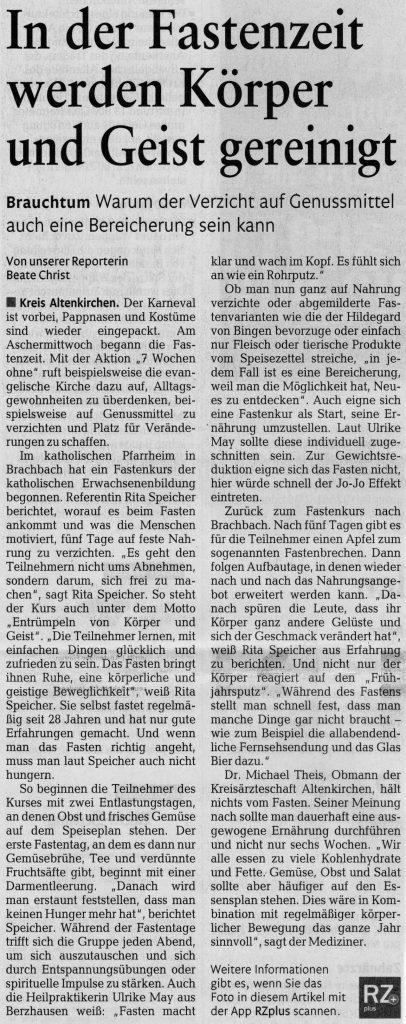 Rhein-Zeitung, Februar 2018