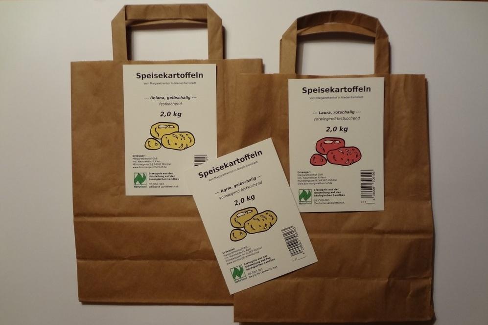 Kartoffel-Etiketten zum Anheften an Kartoffeltüten (mit EAN-Code für Verkauf im Einzelhandel)