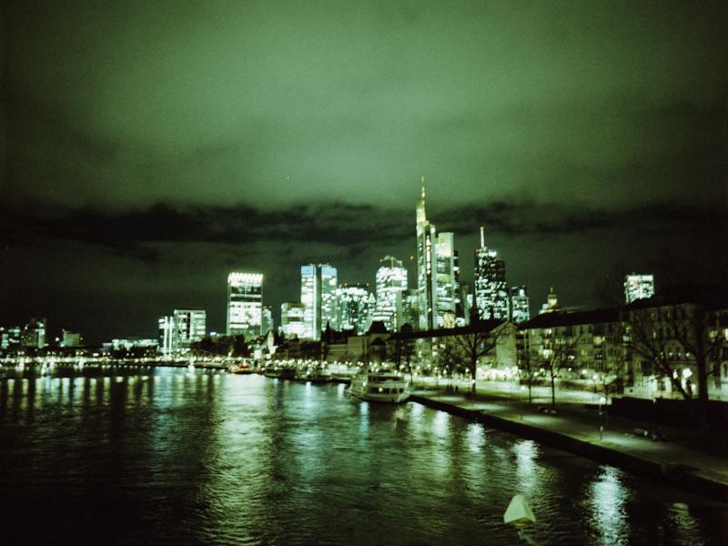 Night view of the skyline of Frankfurt. | LomoChrome Metropolis at 250 ISO with Fujifilm GA645Wi