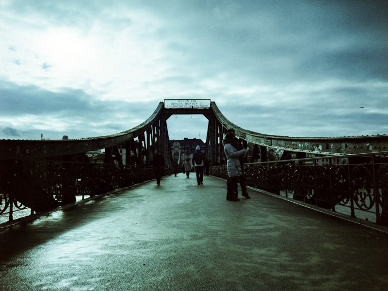 On the bridge | LomoChrome Metropolis at 250 ISO with Fujifilm GA645Wi
