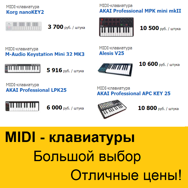 Клавиатуры MIDI