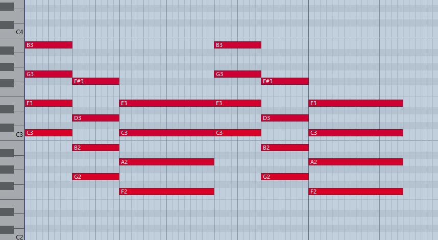 Во всех аккордах одинаковое расстояние между нотами аккорда.