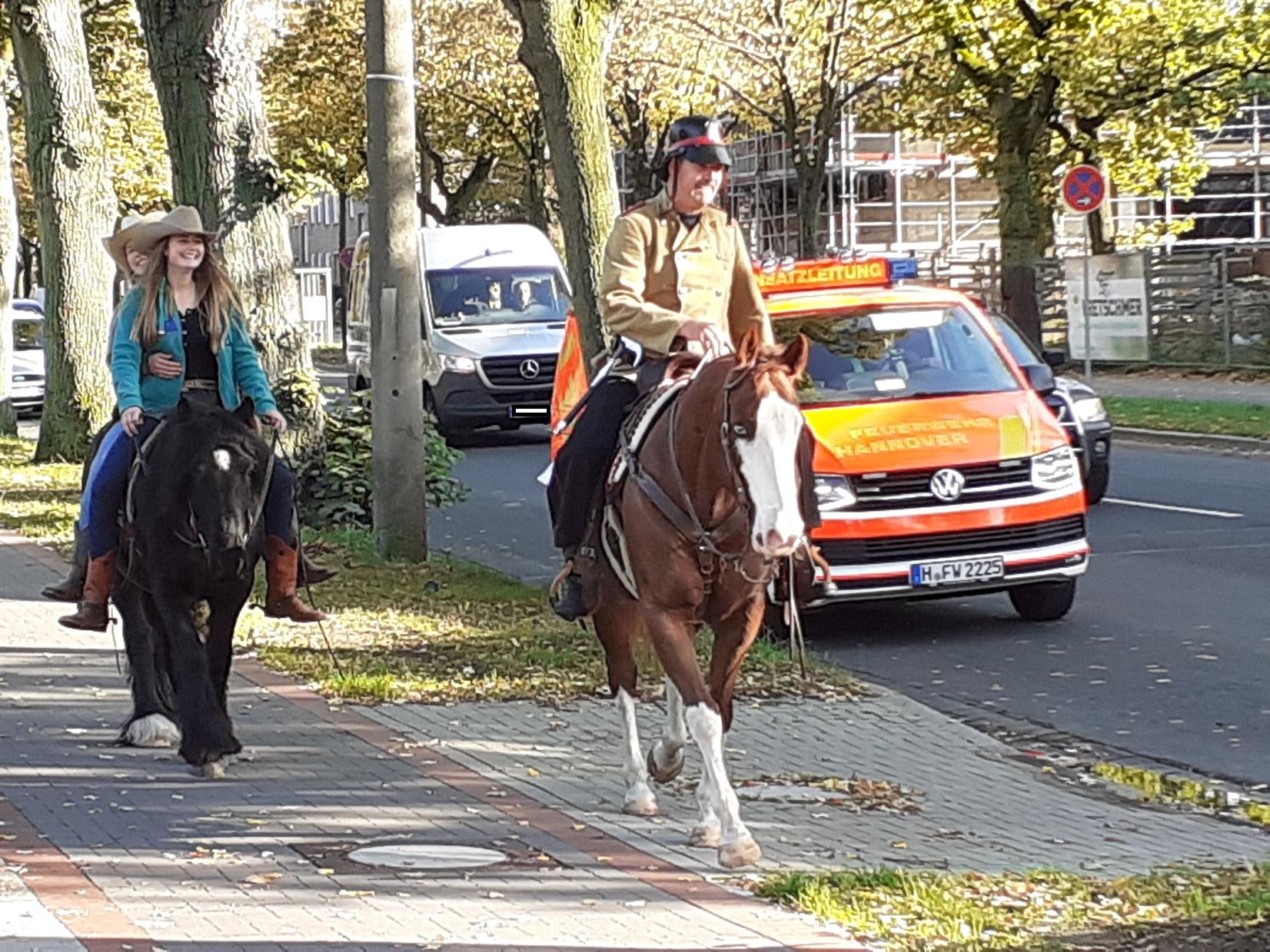 Am 16.10. war es soweit. Klaus` letzte Schicht bei der Feuerwehr und dann konnte er nachhause reiten!