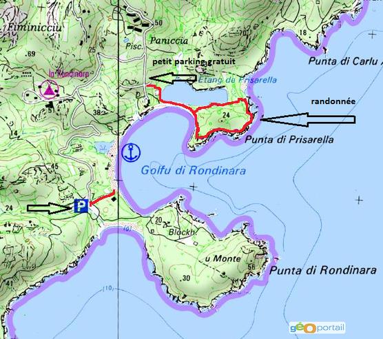 carte randonnée golfe de rondinara