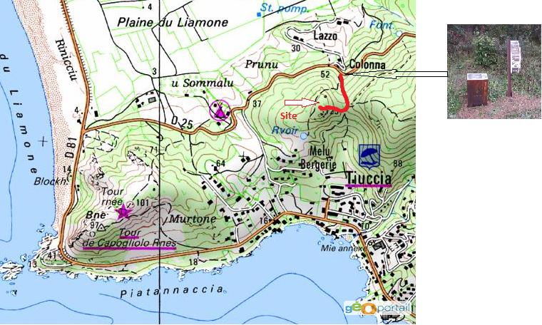 carte randonnée du site préhistorique Monté lazzu