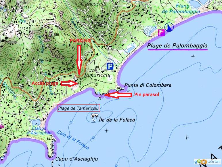 carte des plages de tamaricciu et palombaggia