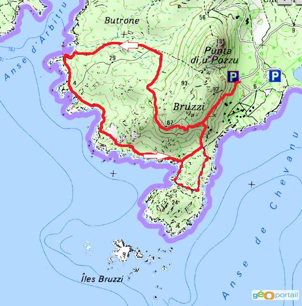 carte randonnée des îles bruzzi